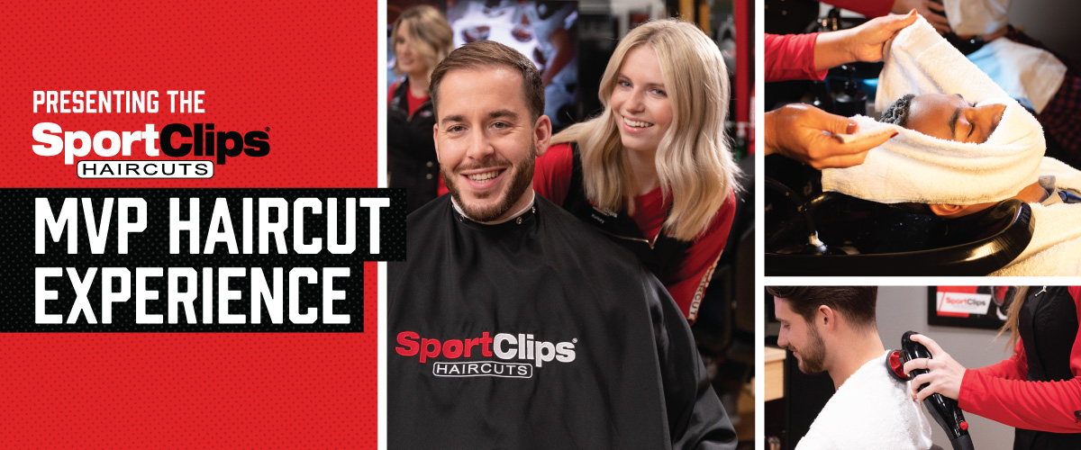The Sport Clips Haircuts of Buchanan Crossroads East MVP Haircut Experience with stylist giving a client a haircut, a hot towel placed on his face, and using a massager on a clients upper back